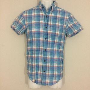 J.Crew Mens XS Slim Short-sleeve Homespun Shirt